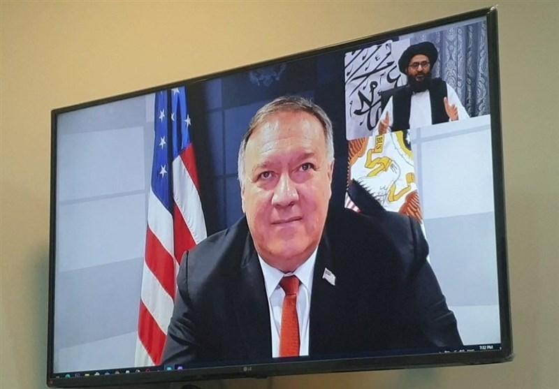 گفتگوی وزیر امور خارجه آمریکا و معاون سیاسی طالبان